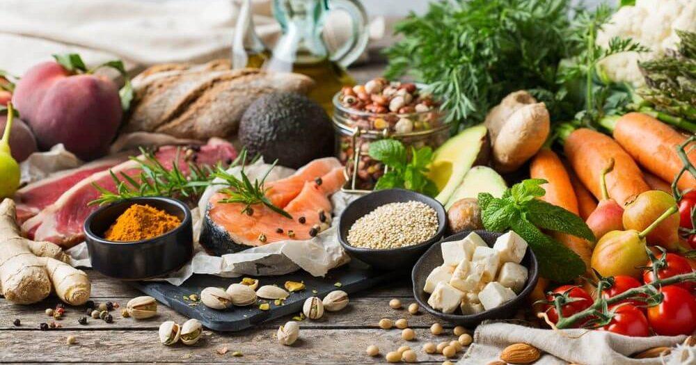 продукты питания овощи лосось зелень